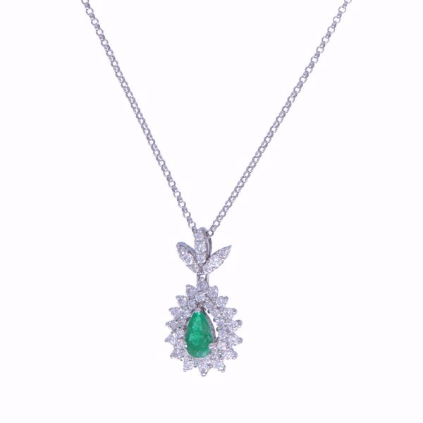Picture of Glamorous Emerald & Diamond Tear Necklace