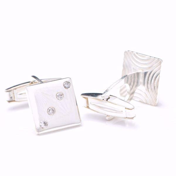 Picture of Classy Diamond & Silver Cufflinks