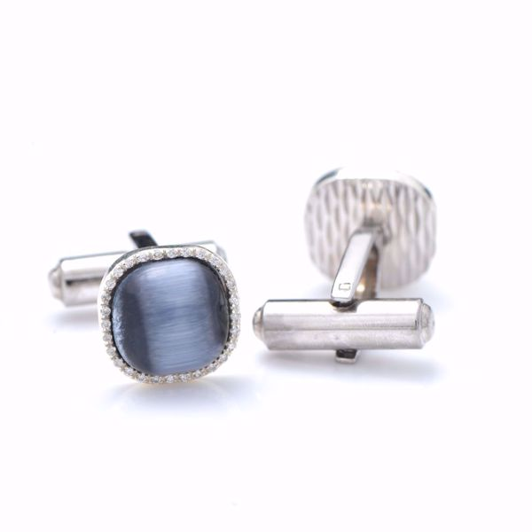 Picture of Classy Diamond & Silver Cufflinks