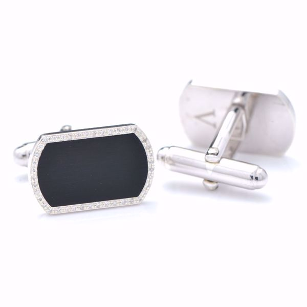 Picture of Classic Diamond & Silver Cufflinks