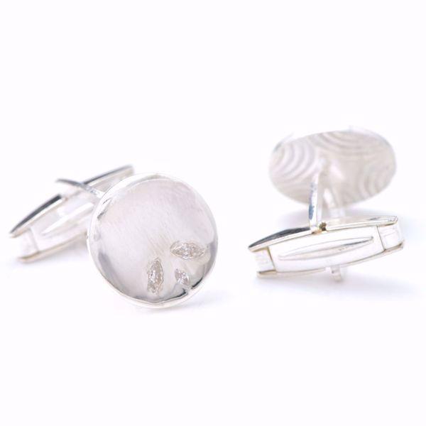 Picture of Round Silver & Diamond Cufflinks
