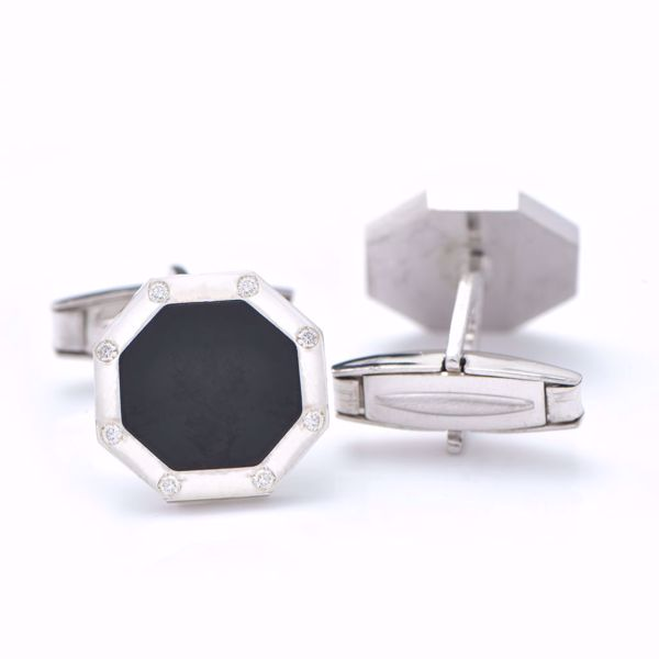Picture of Octagon Diamond & Silver Cufflinks