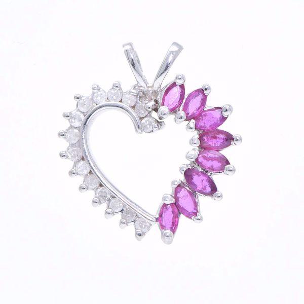 Picture of Elegant Diamond & Ruby Heart Shaped Pendant