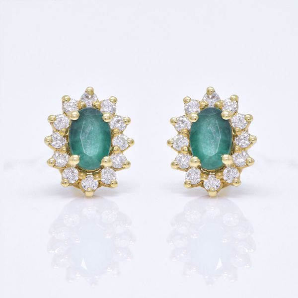 Picture of Fancy Emerald & White Diamond Earrings
