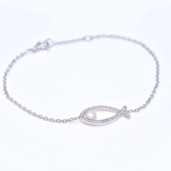 Picture of Diamond & Pearl Fish Bracelet
