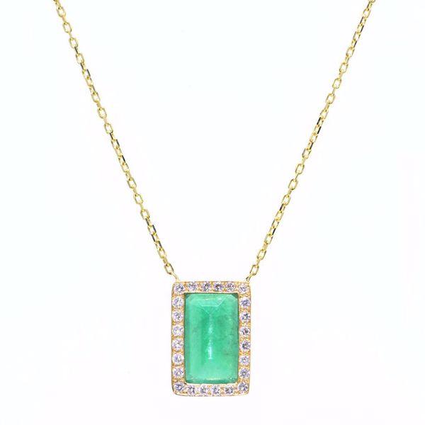 Picture of Classic Emerald & Diamond Neckleace